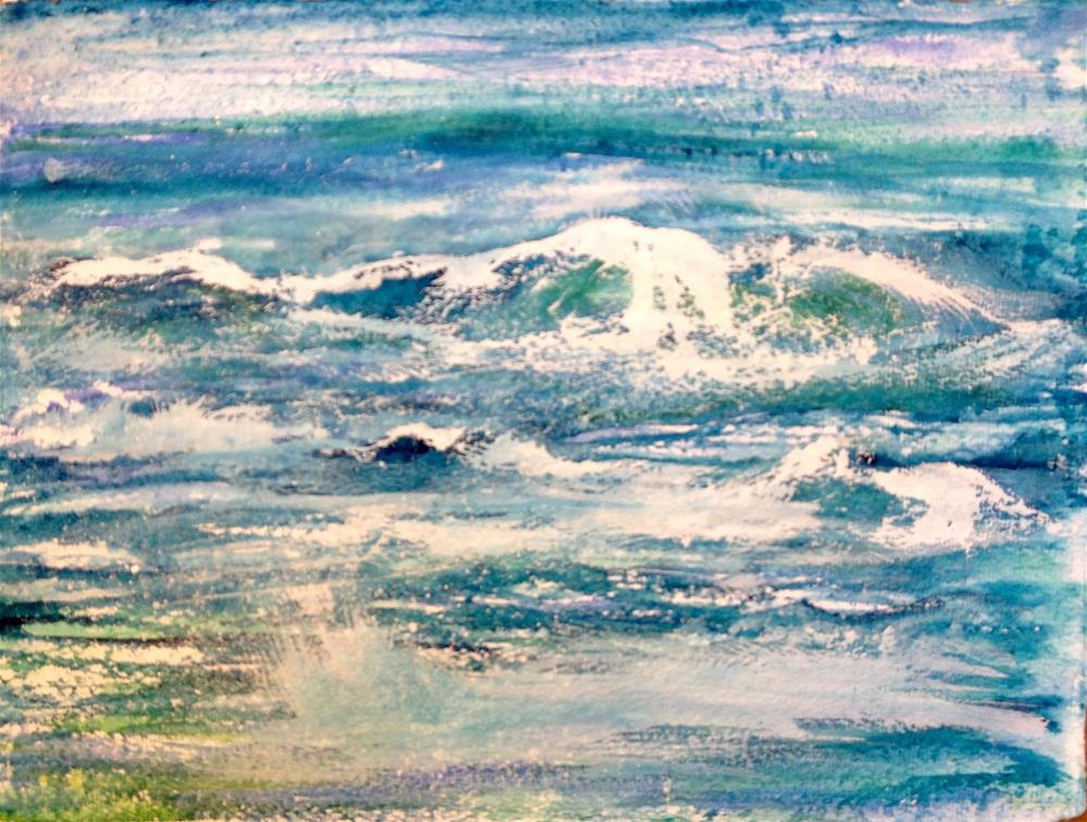 """11x14 Big Splash Ocean Waves Whitecaps Watercolor Rough Penny StewArt"" original fine art by Penny Lee StewArt"
