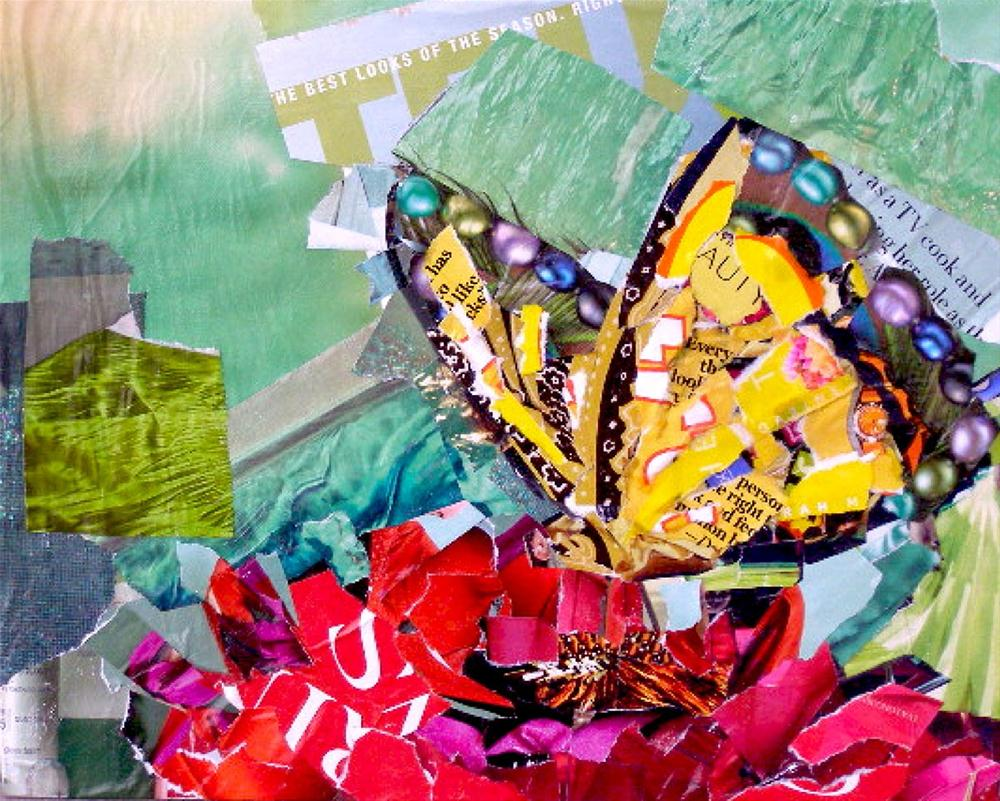 """Soft Landing, 8x10 Collage"" original fine art by Carmen Beecher"