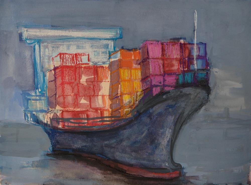 """Cargo Ship"" original fine art by Angela Ooghe"