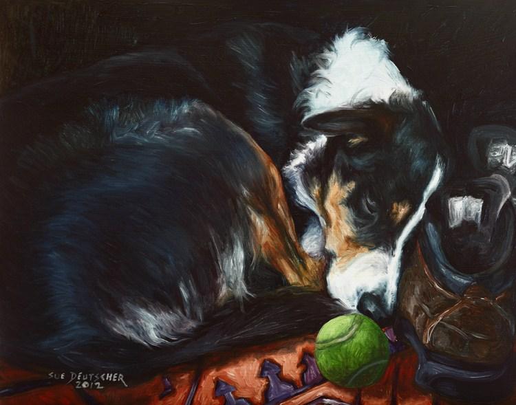 """""""Sleeping Border Collie"""" original fine art by Sue Deutscher"""