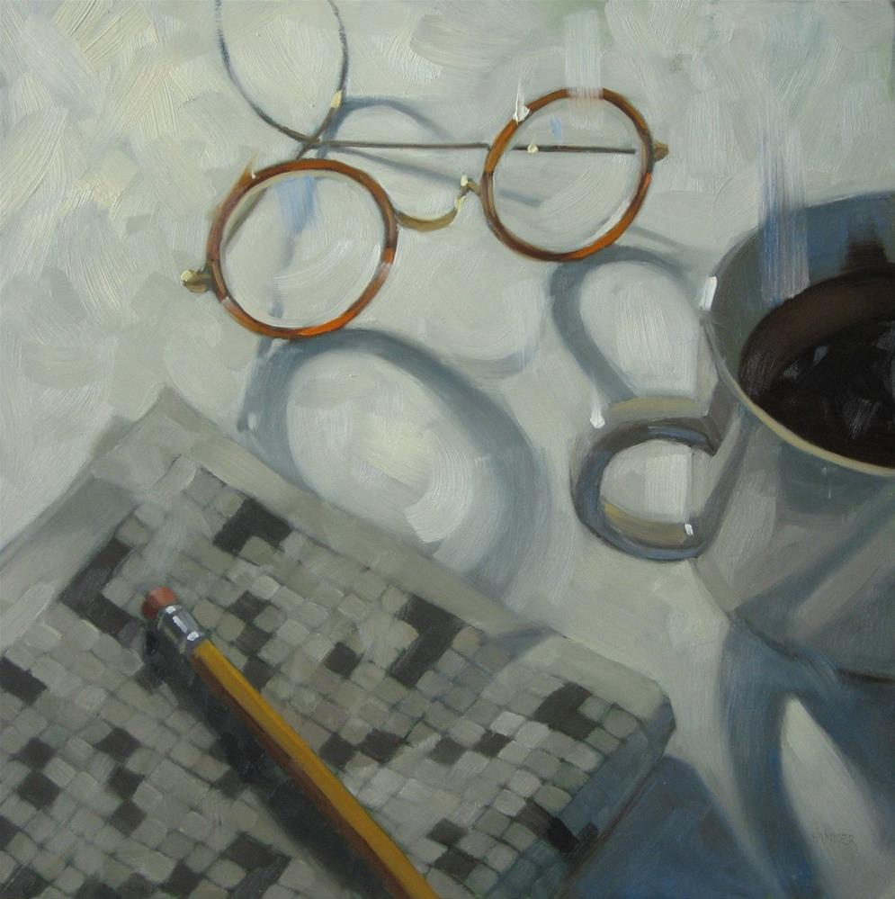 """Working a crossword puzzle 18x18 oil on wood"" original fine art by Claudia Hammer"