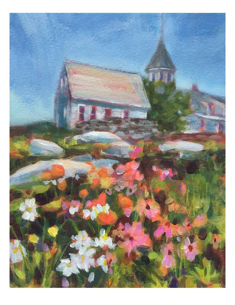 """Flower Garden On Monhegan"" original fine art by Suzanne Woodward"