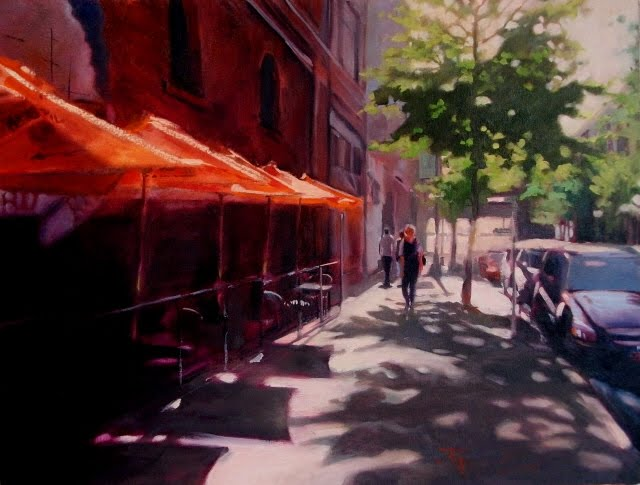 """J&M Cafe   Seattle City Scenes, urban landscape,oil painting"" original fine art by Robin Weiss"