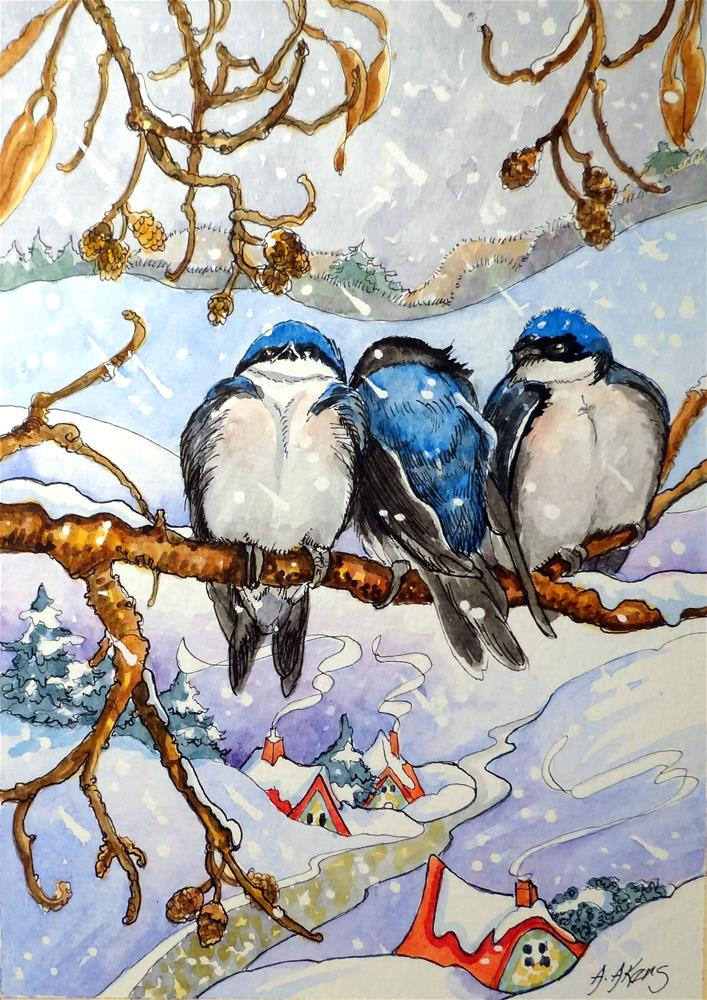 """Friends can Keep you Warm on a Wintry Day"" original fine art by Alida Akers"