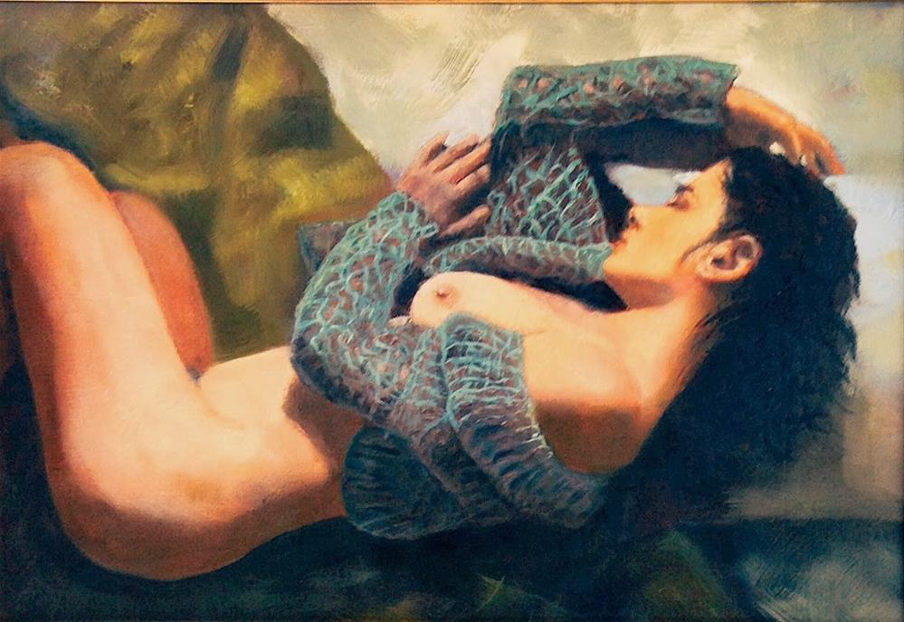 """Nude with Sweater 11x16 in antique gold frame"" original fine art by David Larson Evans"