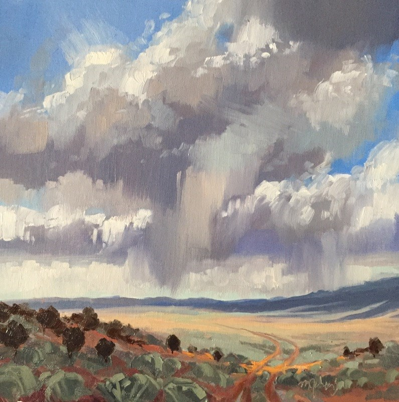 """Summer Storms on the Road to Nowhere"" original fine art by Mary Jabens"