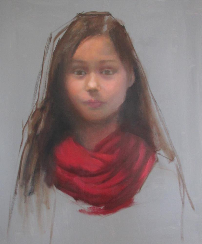 """The Red Scarf"" original fine art by Linda Carney"