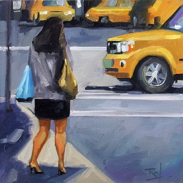 """No 811 Getting a Cab"" original fine art by Robin J Mitchell"