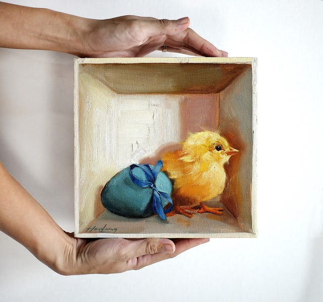 """Chick and Blue Egg in a box"" original fine art by Haze Long"