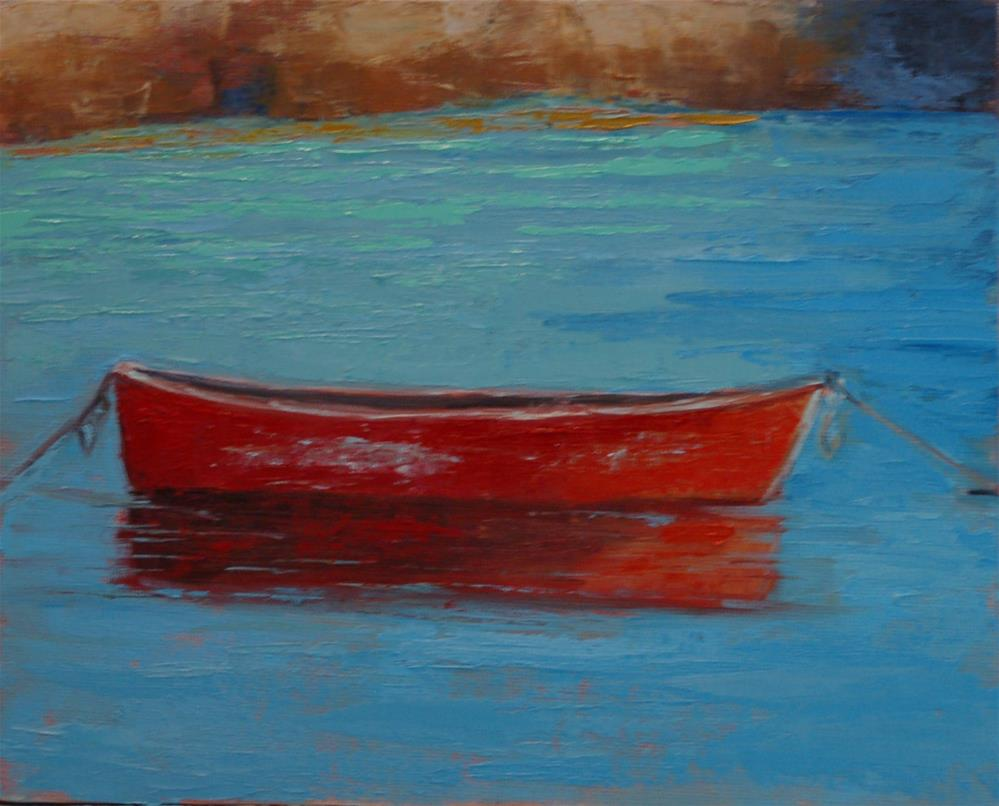 """Red Fishing Boat"" original fine art by Carol Pighin"