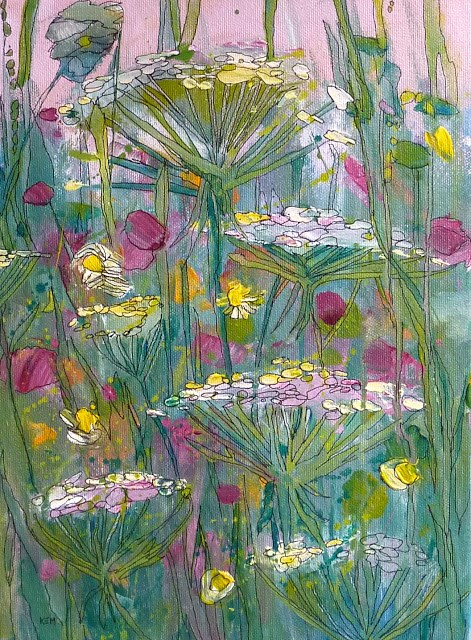 """Queen Annes Lace Acrylic"" original fine art by Karen Margulis"