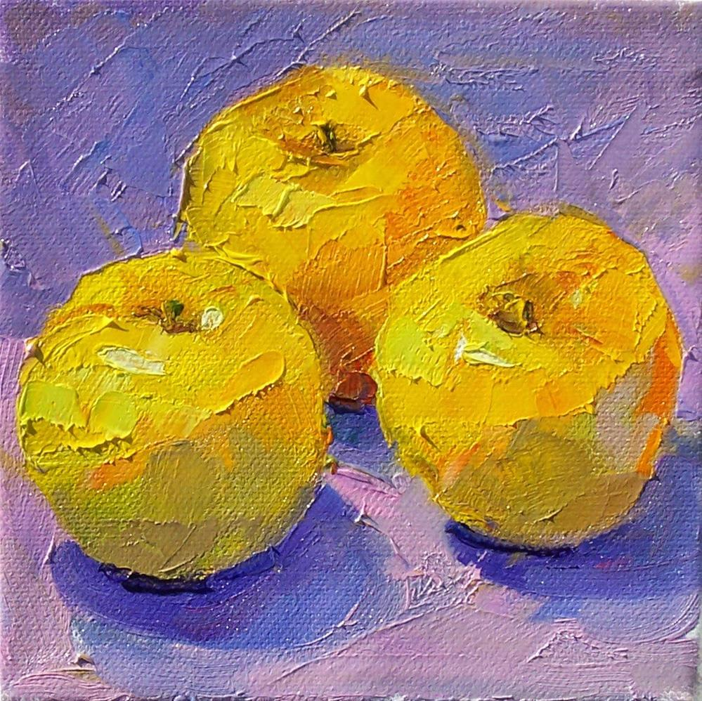 """Opal Apples,still life,oil on canvas,6x6,price$200"" original fine art by Joy Olney"