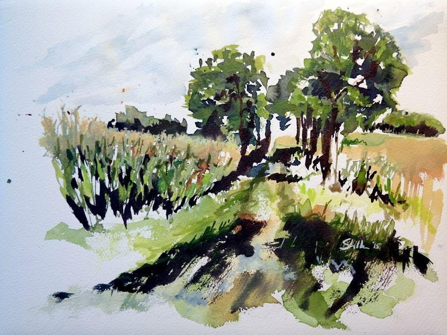 """1447 Kirchhorst Landscape"" original fine art by Dietmar Stiller"
