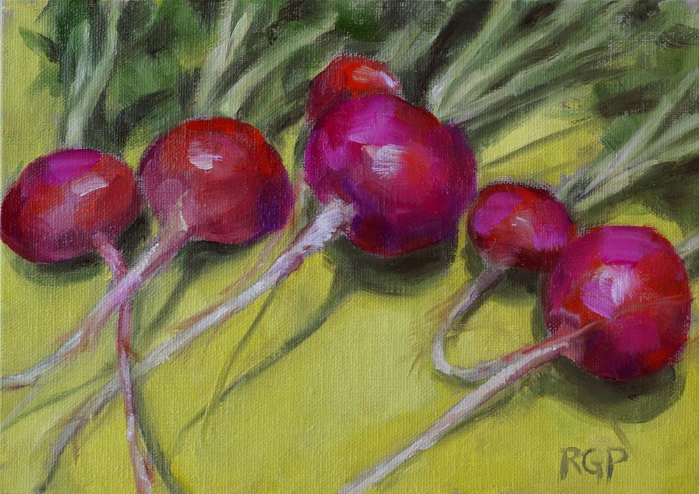 """Cindy's radishes"" original fine art by Rhea  Groepper Pettit"
