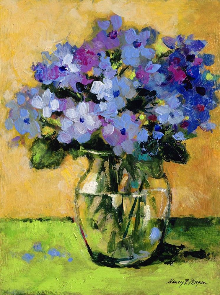 """Hydrangeas With Green"" original fine art by Nancy F. Morgan"