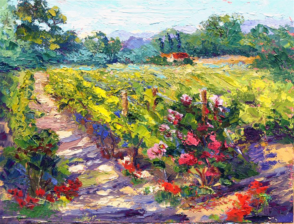 """Spring Vineyard in Provence"" original fine art by Marion Hedger"