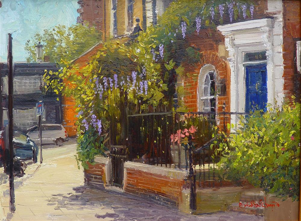 """Summer light Cheyne Walk, Chelsea"" original fine art by Adebanji Alade"