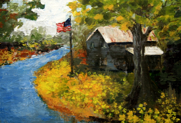 """Old Glory by the Old Mill"" original fine art by Jean Nelson"