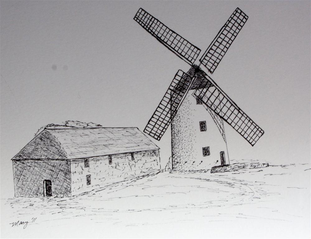 """Windmill"" original fine art by Mary Datum"
