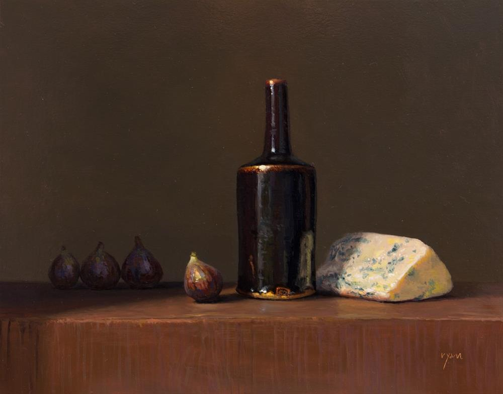 """""""Still Life with Figs, Bleu Cheese, and Temmoku Bottle  (+ National Gallery of Art)"""" original fine art by Abbey Ryan"""
