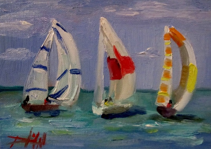 """Sail Boats No.5"" original fine art by Delilah Smith"