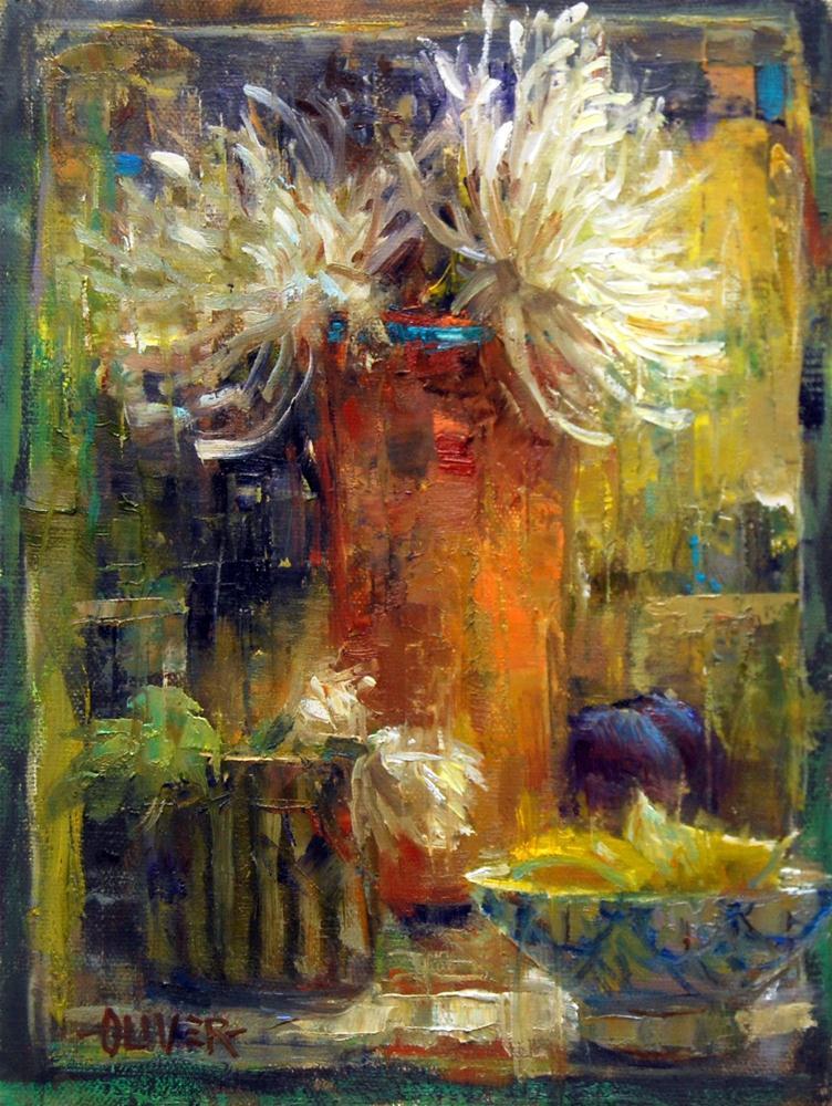 """""""Spider Mums"""" original fine art by Julie Ford Oliver"""