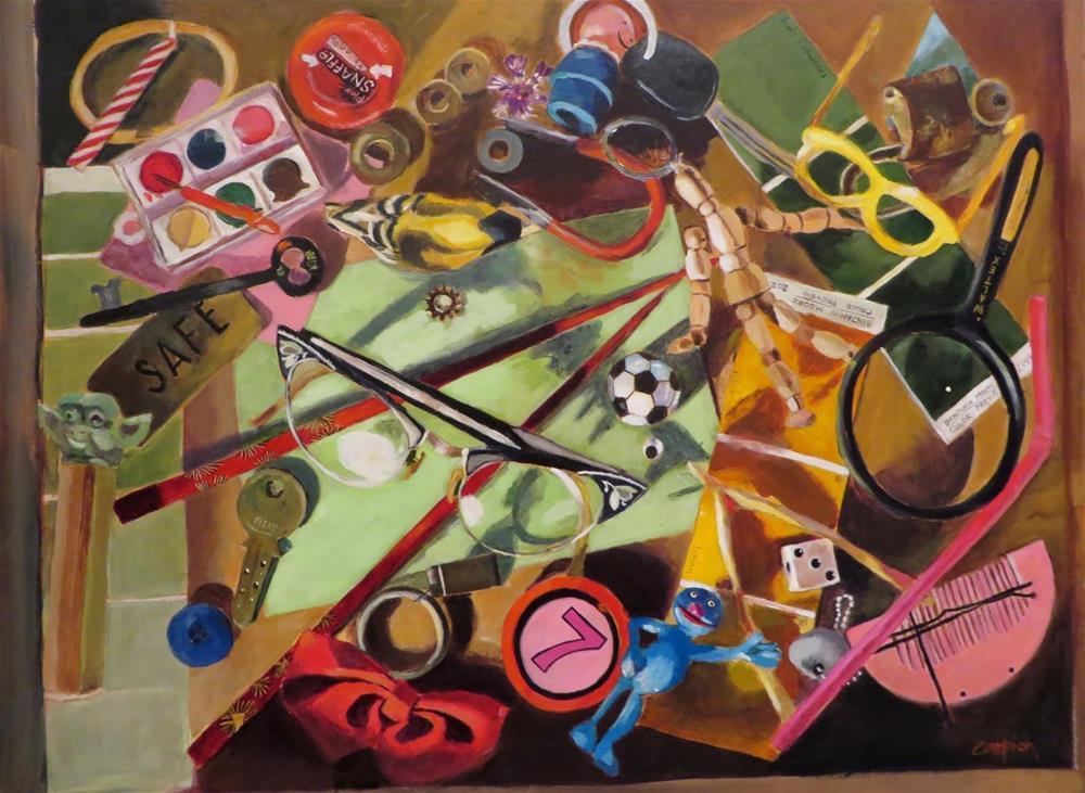"""""""Junk Drawer"""" original fine art by Diane Campion"""