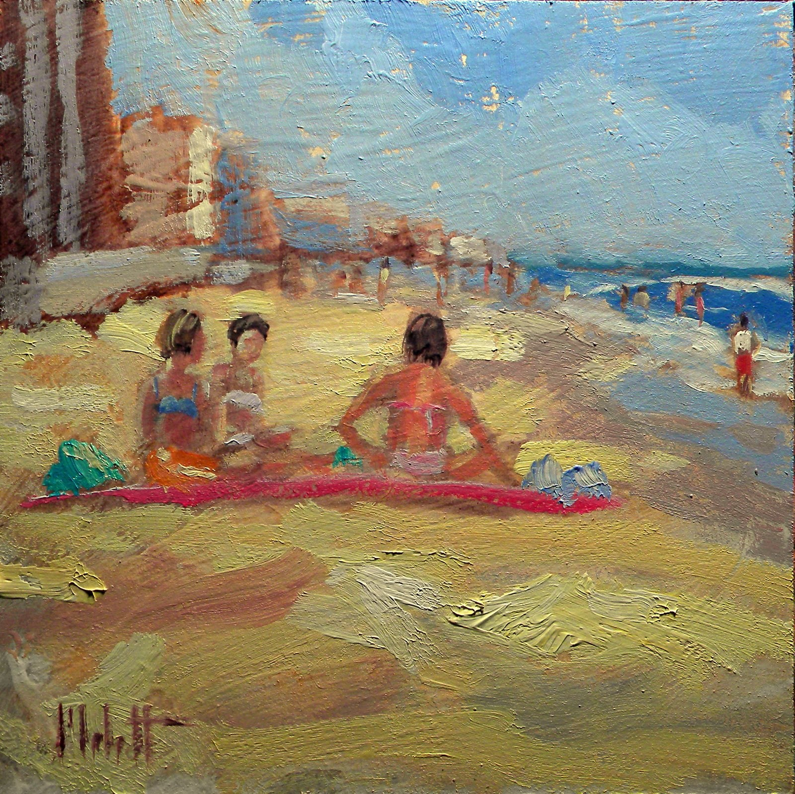 Girlfriends Beach Bikinis Happy Hour Daily Oil Painting Heidi Malott original fine art by Heidi Malott