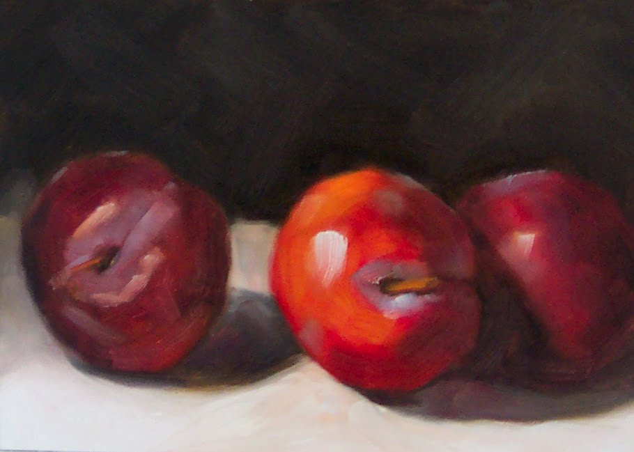 """Three Red Plums"" original fine art by Cindy Haase"