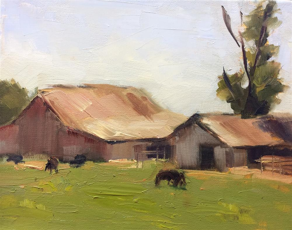 """Late Summer - Field and Barn"" original fine art by Naomi Bautista"