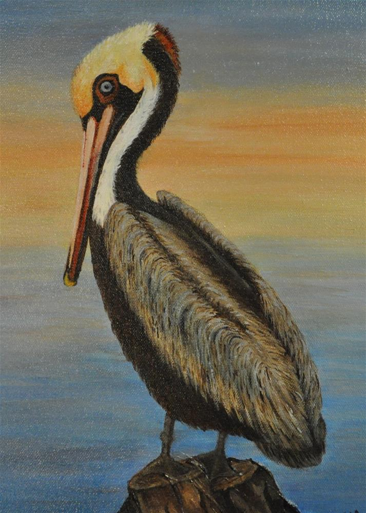 """Pelican Perch"" original fine art by Peggy W Morvant"