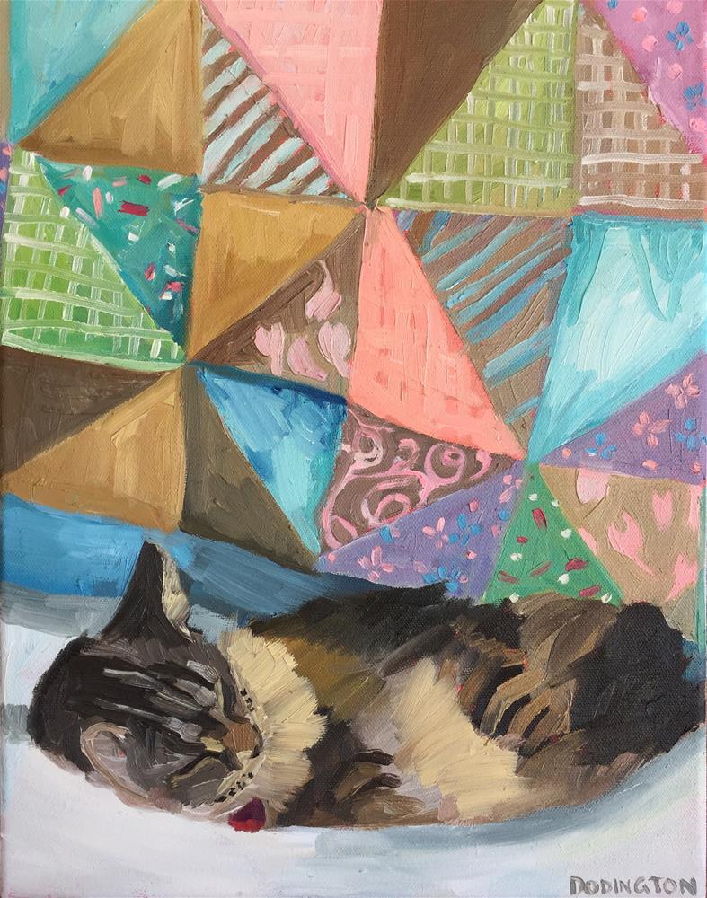 """""""Curled Kitty"""" original fine art by Jessie Dodington"""