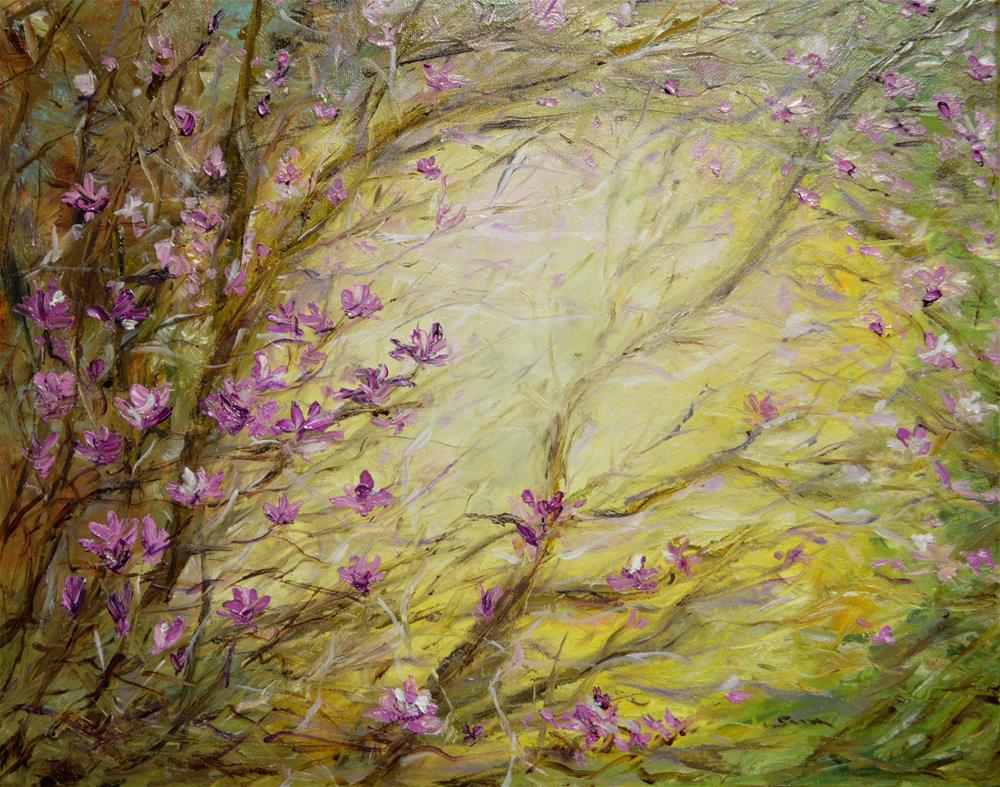 """Magnolia flower in the wood"" original fine art by Sun Sohovich"