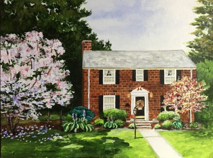 """Magnolia Tree Home"" original fine art by Nan Johnson"