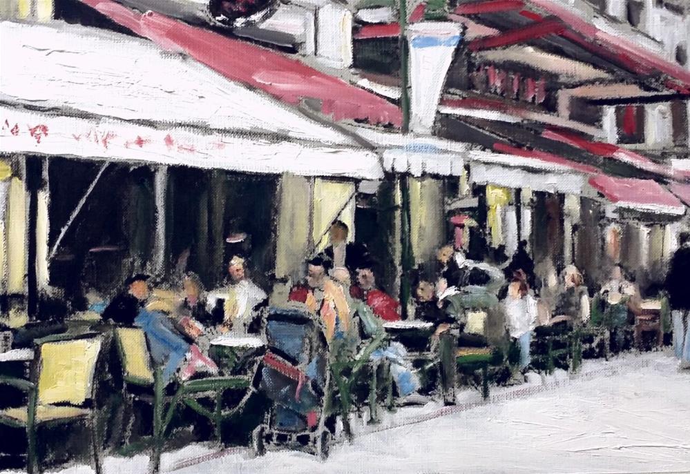 """A Restaurant in France (9 x 12 Oil on canvas sheet - no frame)"" original fine art by Ramon DelRosario"
