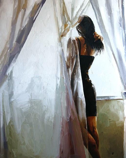 """Black Dress"" original fine art by Victor Bauer"