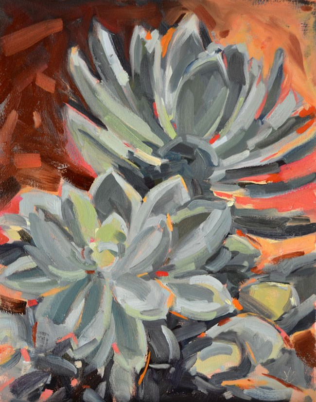 """Succulents"" original fine art by Jessica Green"