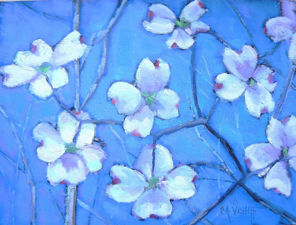 """Daily Painting, Floral, Blooming Dogwood 6x8"" original fine art by Carol Schiff"