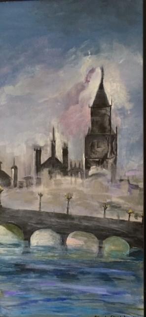 """""""London Fog"""" original fine art by Sheila Clark Lundy"""