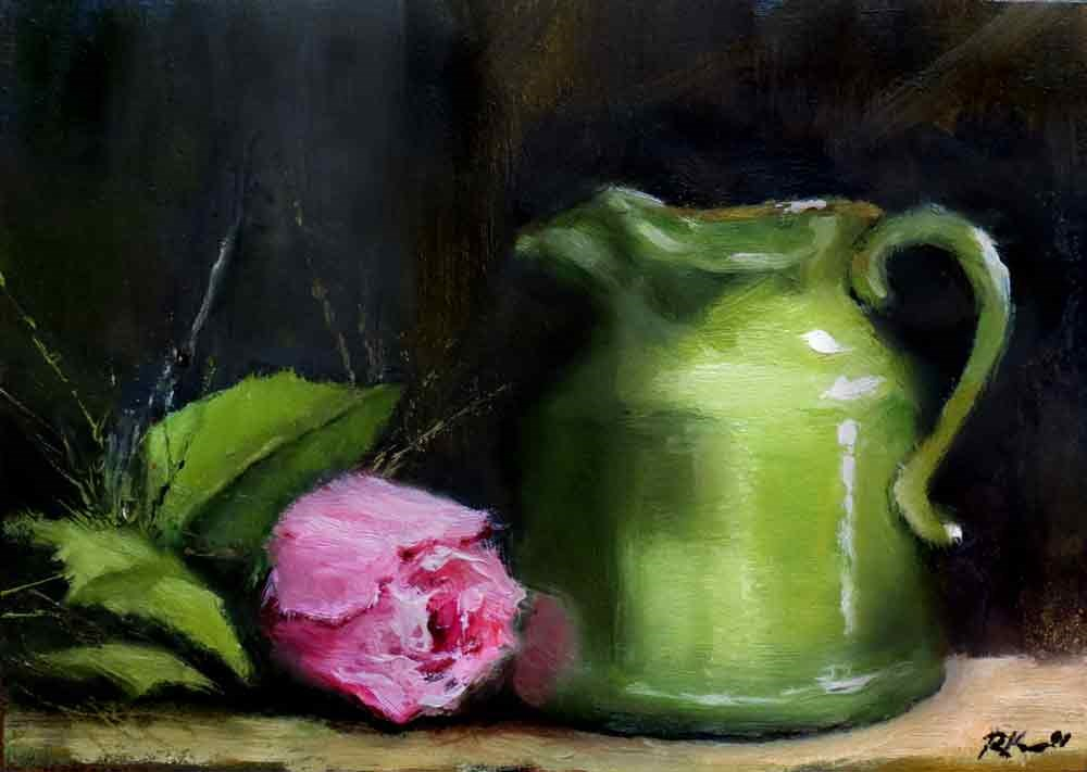"""Small Pitcher and a Rose"" original fine art by Bob Kimball"