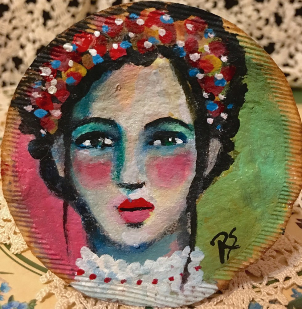 """Tea Bag Portrait - Anya"" original fine art by Roberta Schmidt"