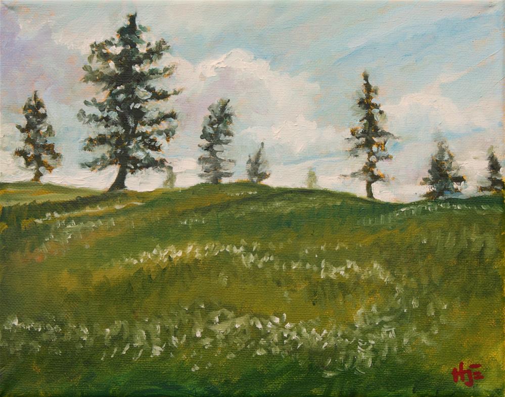 """Pine trees and white flowers"" original fine art by Hilary J. England"