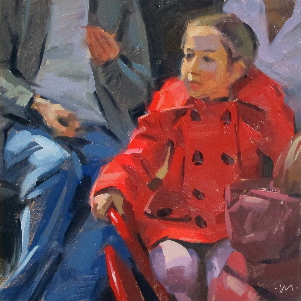 """Red Coat"" original fine art by Carol Marine"