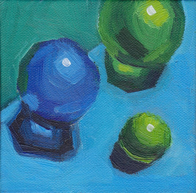 """Blue and Green Marbles"" original fine art by J M Needham"