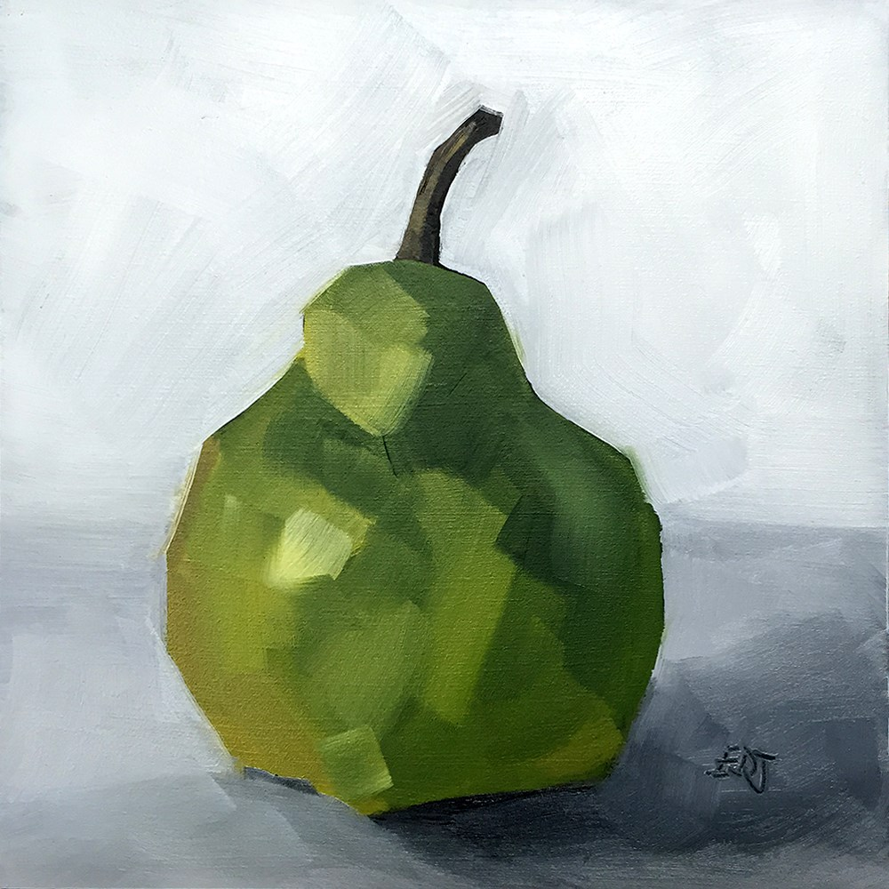 """Simple Pear"" original fine art by Elizabeth Dawn Johnston"