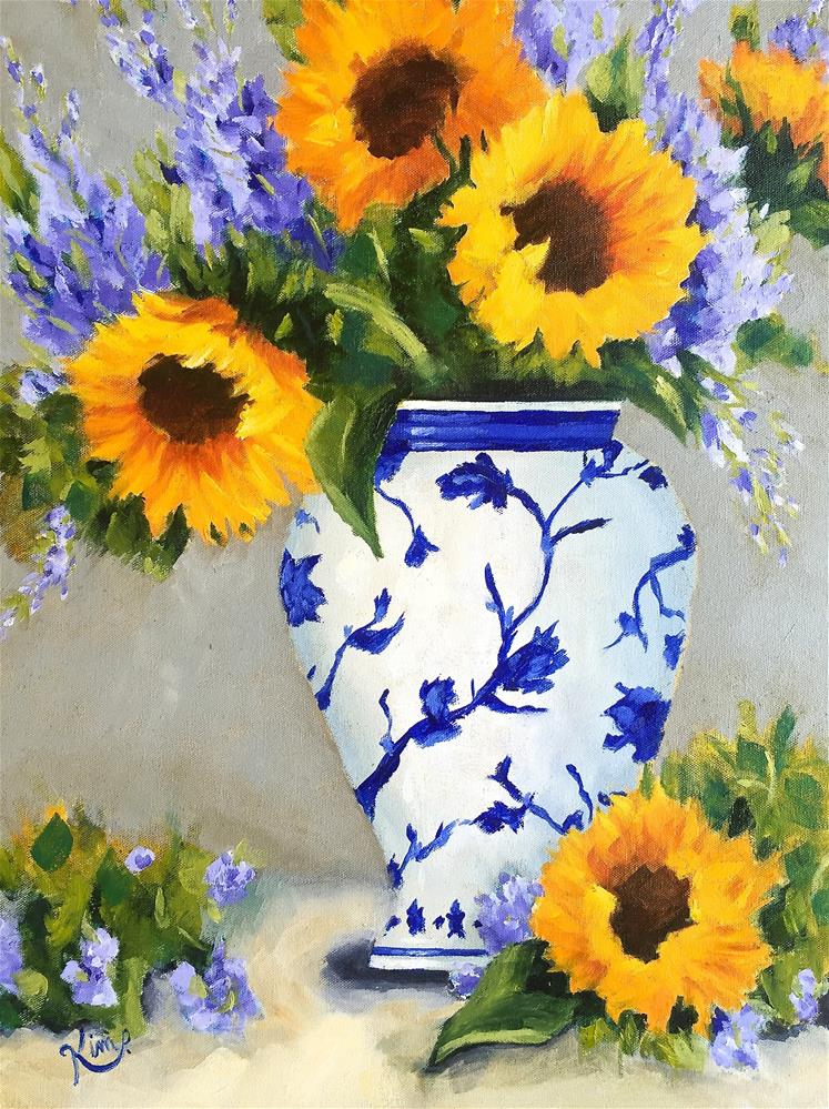 """Sunflower Bouquet in Blue and White Vase"" original fine art by Kim Peterson"