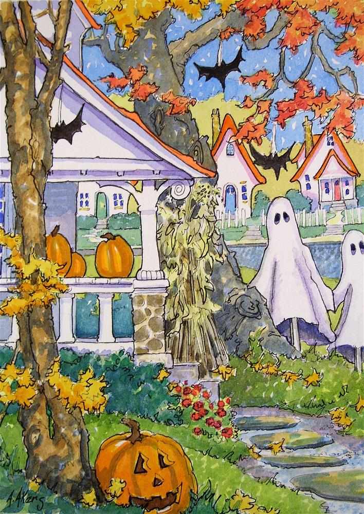 """""""Always the First on the Block a Storybook Cottage Halloween"""" original fine art by Alida Akers"""