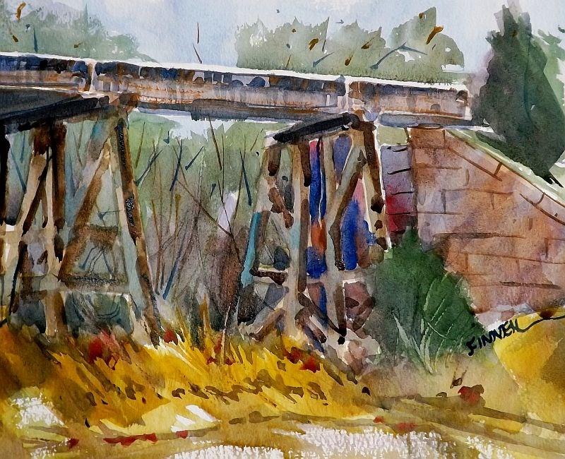 """""""Railroad Bridge"""" original fine art by David Finnell"""