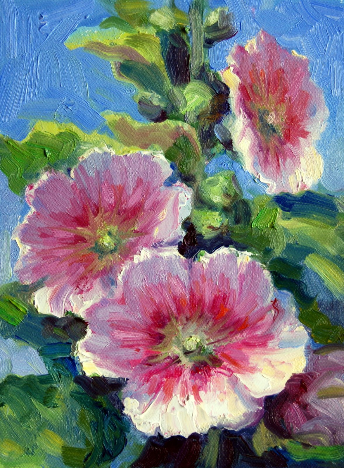 """Santa Fe Hollyhock Study"" original fine art by Julie Ford Oliver"