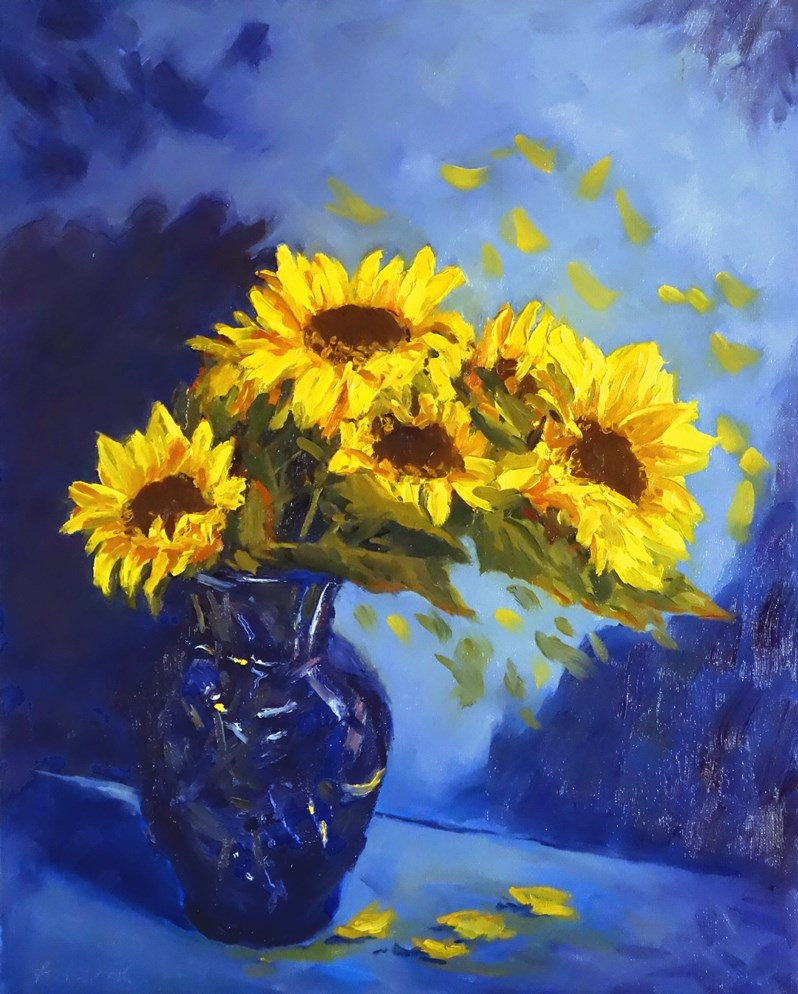 """Sunflowers in Blue Vase II"" original fine art by Daniel Fishback"